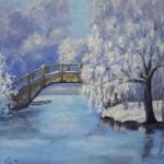 картина маслом зимний парк с мостиком без рамы