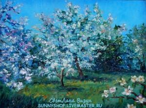 картина маслом импрессионизм цветущий сад