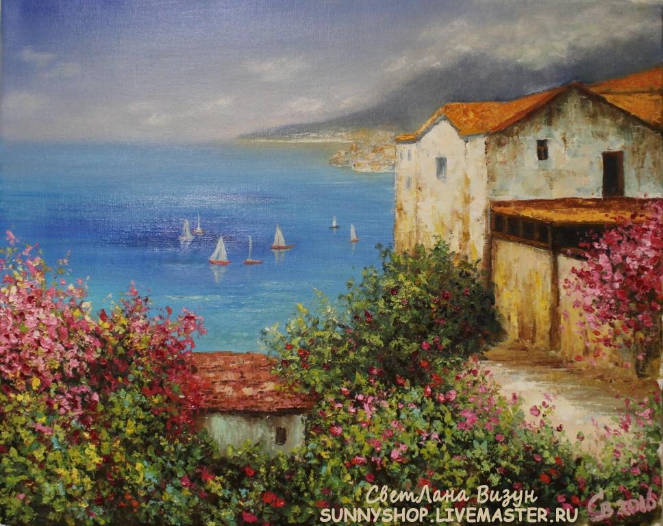 картина маслом средиземноморский пейзаж мастер-класс по живописи июль
