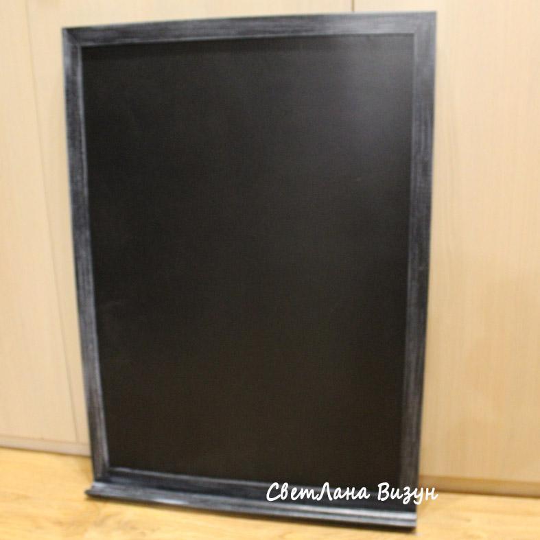 Магн-мел доска в черной состаренной раме с полкой, 65*95см, 3600р