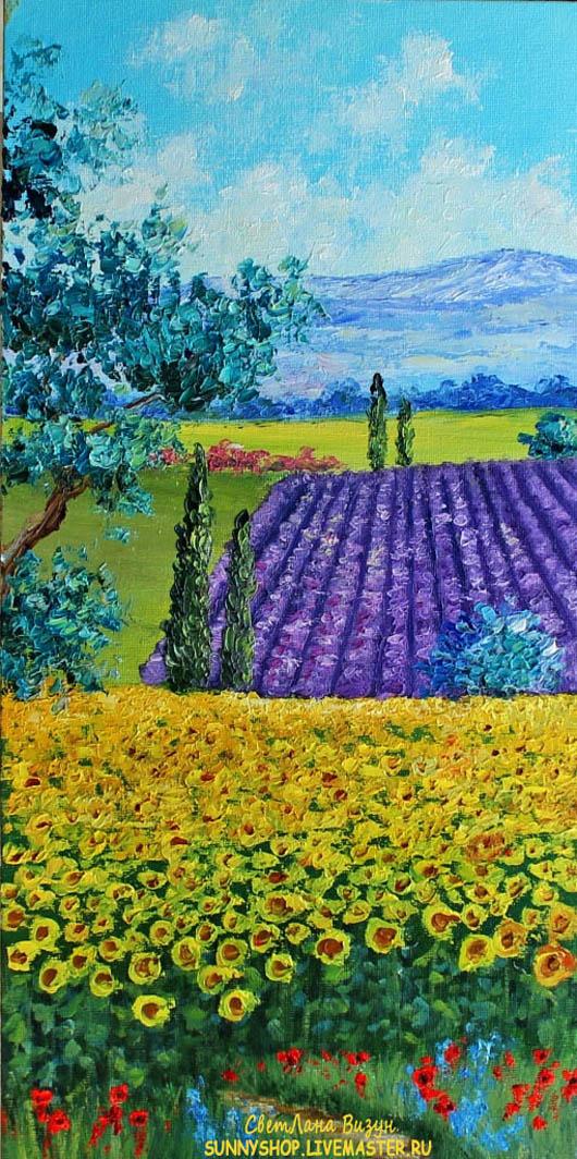 картина масло пейзаж лаванда и подсолнухи