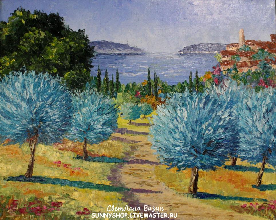 картина масло прованс оливковые деревья