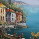 картина маслом средиземноморье пейзаж с цветами