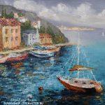 картина маслом средиземноморье яхта