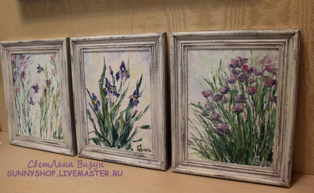 Серия картин маслом в рамках с сиреневыми цветами