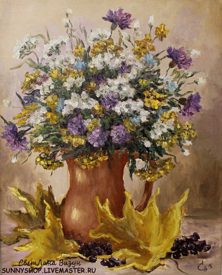 картина маслом букет полевых цветов москва визун !