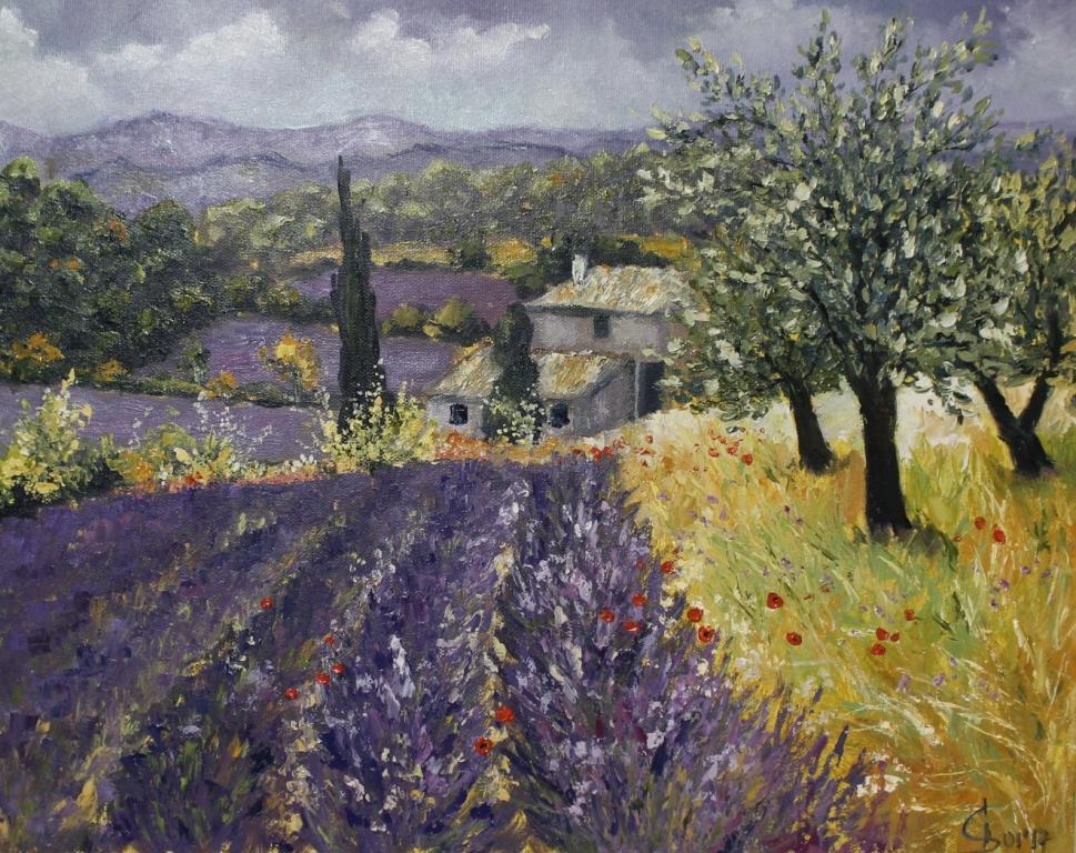 картина маслом пейзаж прованс лавандовое поле