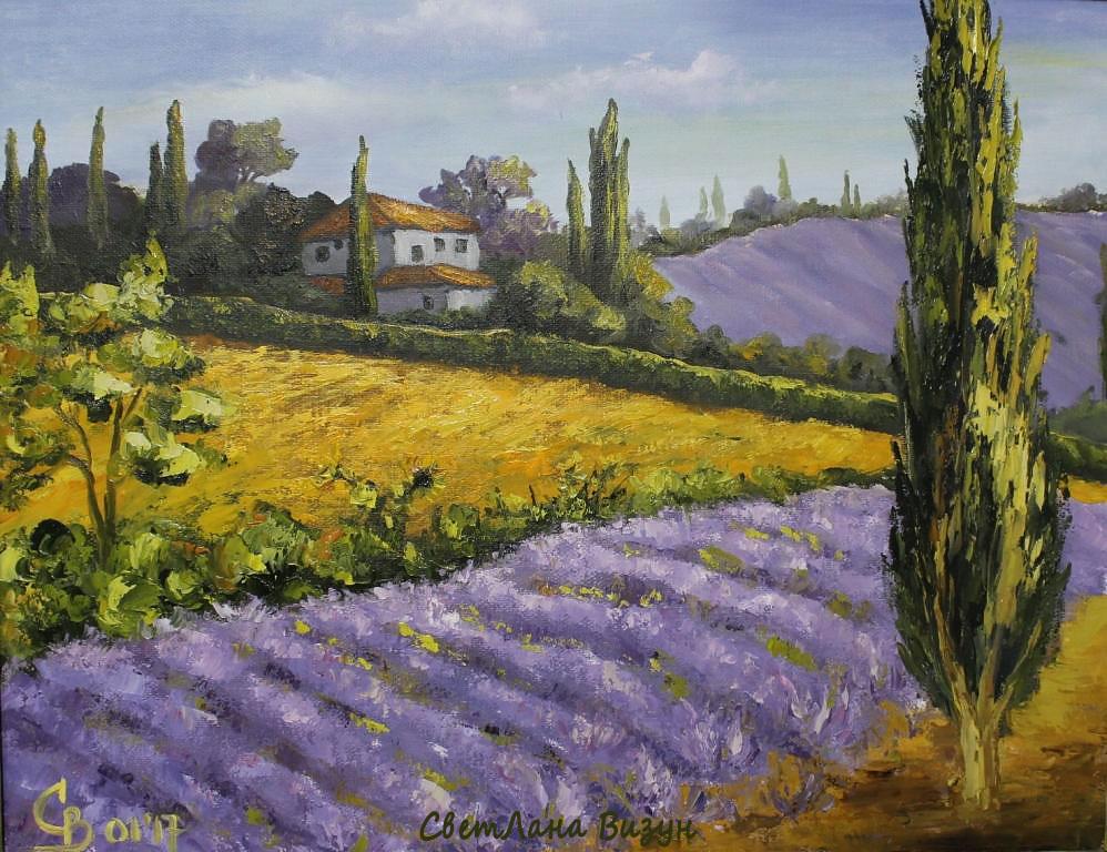 картина маслом пейзаж прованс лавандовые дали