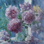 Картина маслом букет розовых пионов