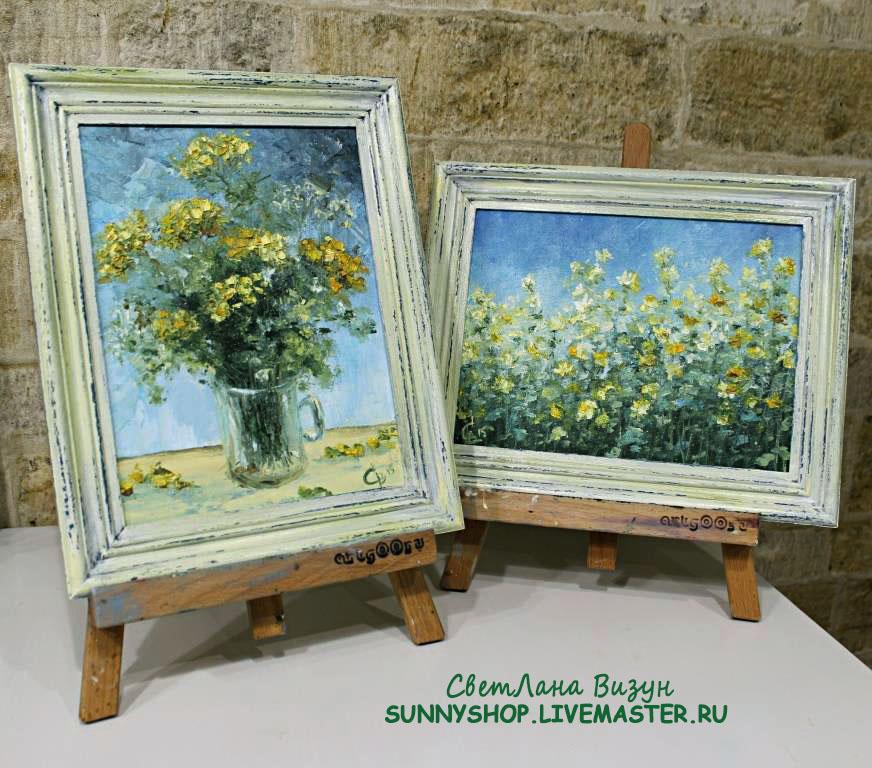 картины маслом желтые цветы миниатюры диптих