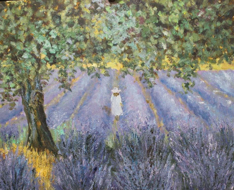 картина маслом лавандовое поле девочка