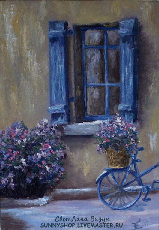 лавандовый дворик в провансе картина велосипед
