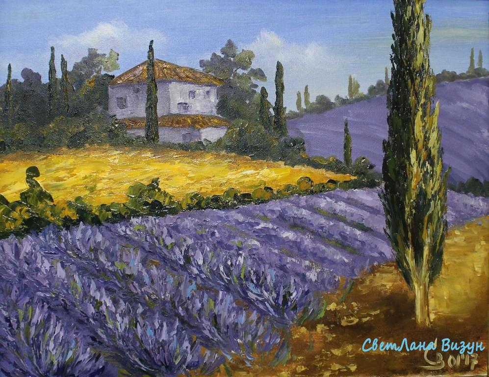 картина маслом прованс пейзаж лавандовые поля визун