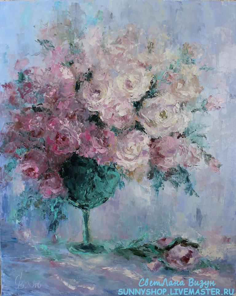 картина маслом букет розовых роз