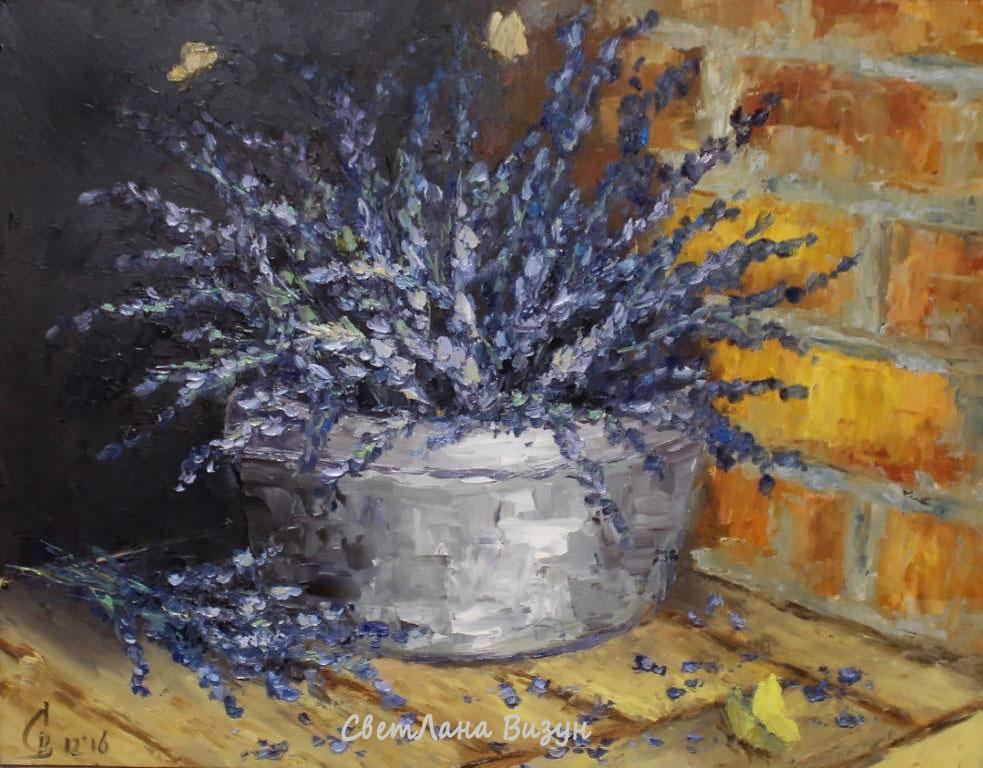 картина маслом лаванда в корзине