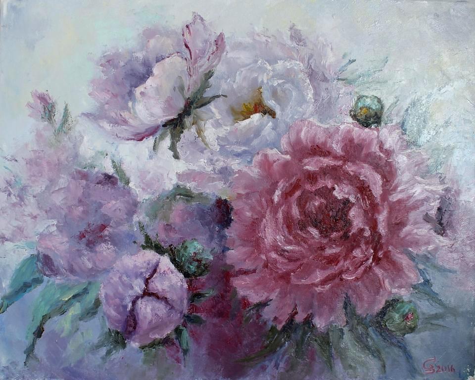 светлая картина маслом розовые пионы