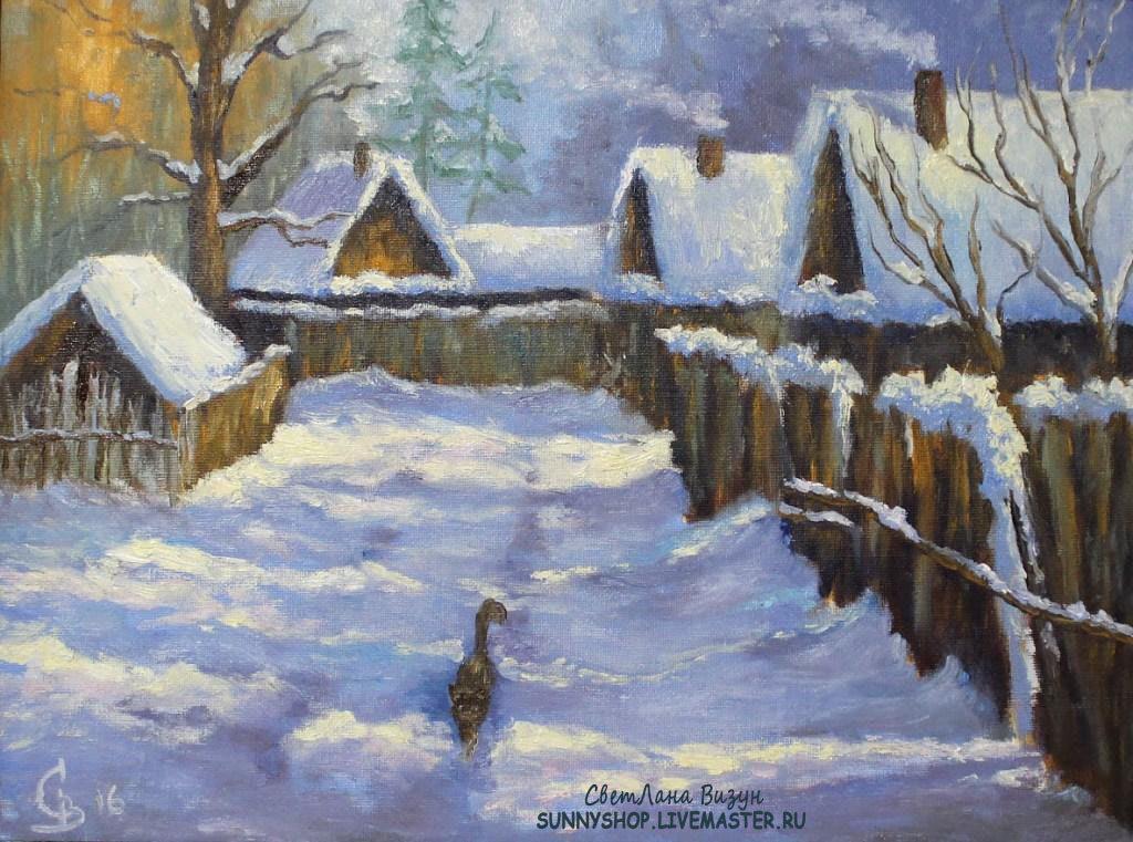 картина маслом пейзаж зимняя деревня