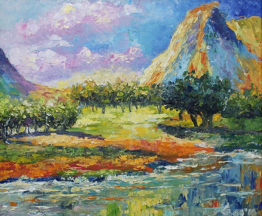 картина масло яркий пейзаж мастихином