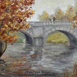 картина масло осень пейзаж с мостом визун