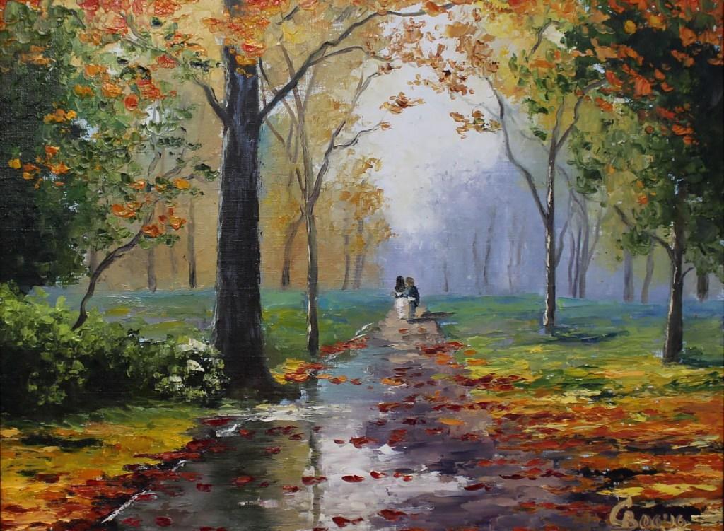 картина масло пейзаж двое в осеннем парке