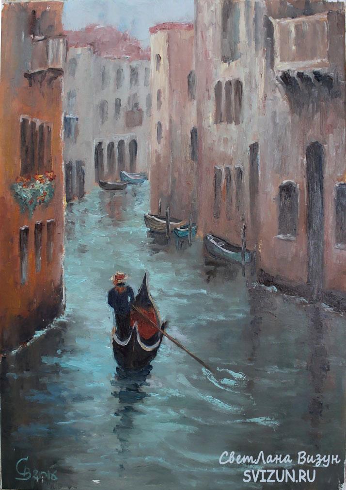 картина масло венеция гондола визун