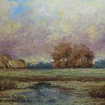 светлая картина масло пейзаж пруд визун