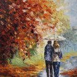 картина маслом афремов двое в парке осень