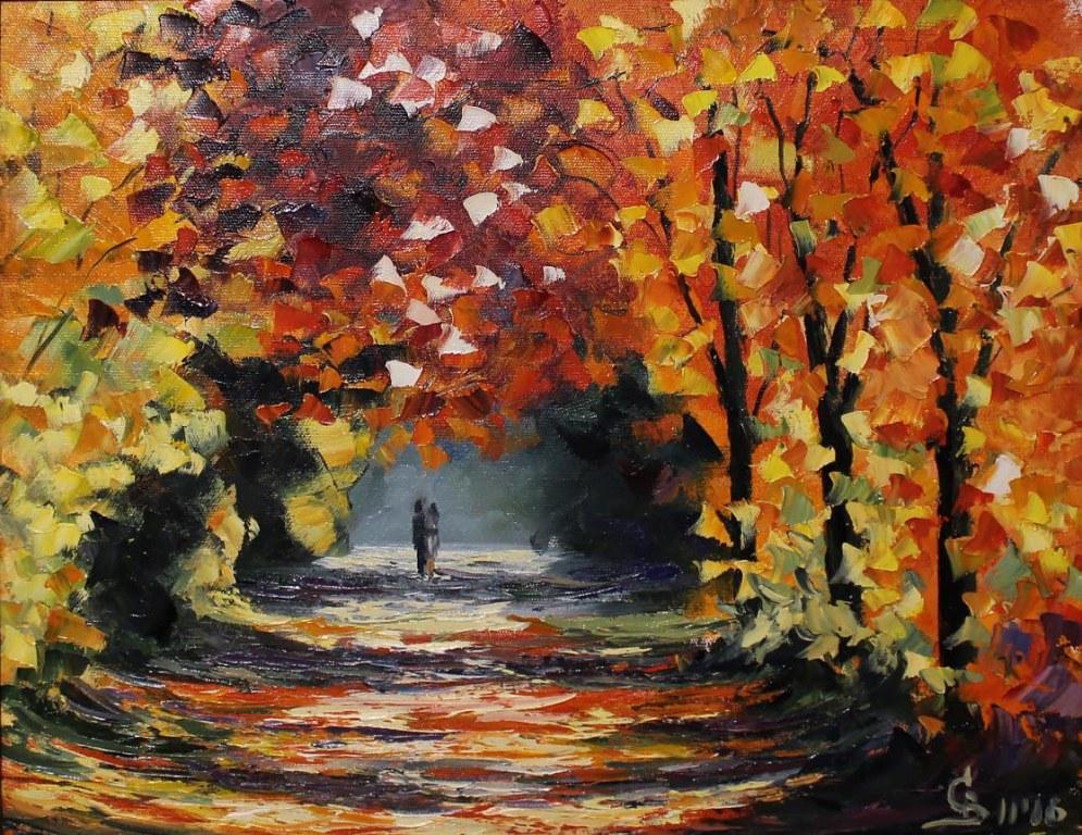 картина маслом Афремов осенний пейзаж парк