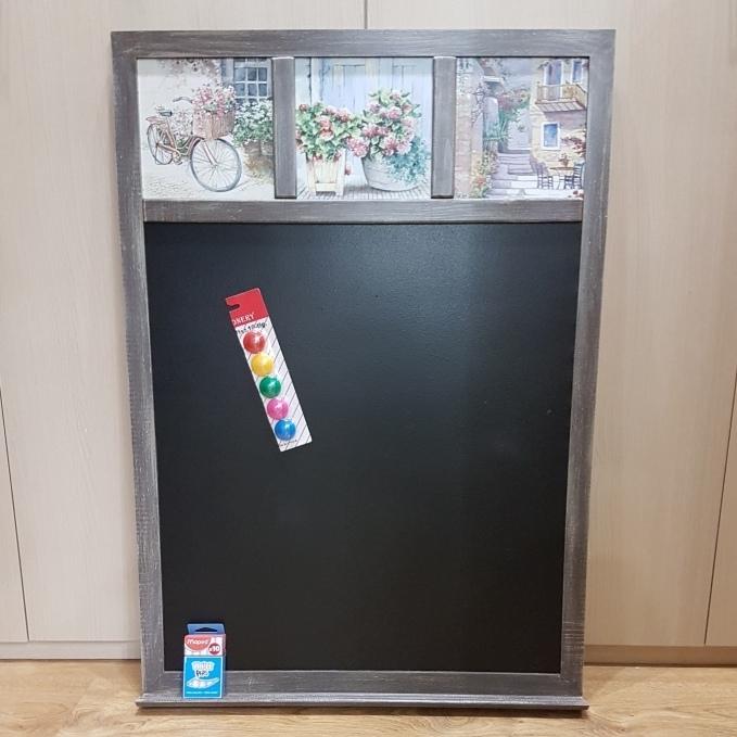 Магнитно-меловая доска для магнитиков и заметок Прованс с цветами