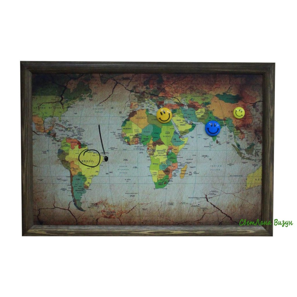 Интерьерная магнитно-маркерная доска карта мира