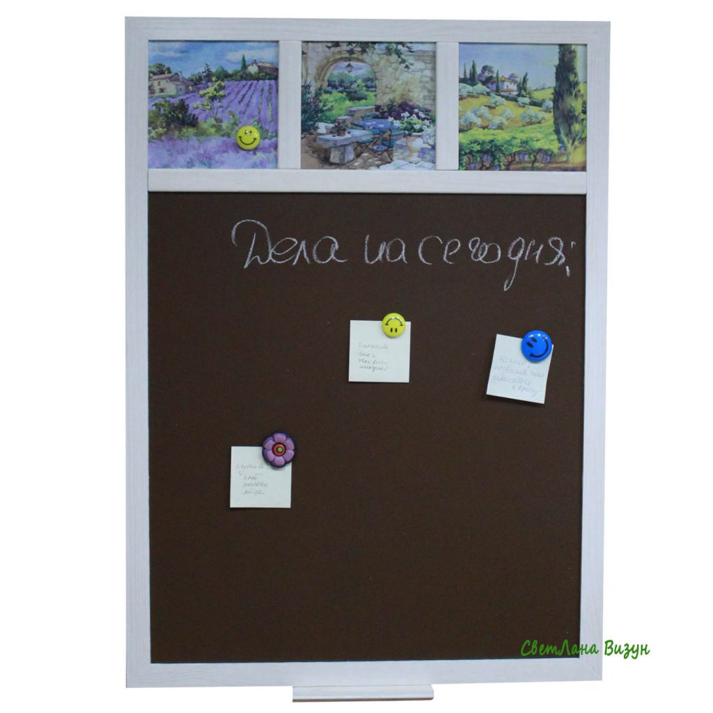 Магнитно-меловая доска коричневая прованс на кухню для заметок на стену