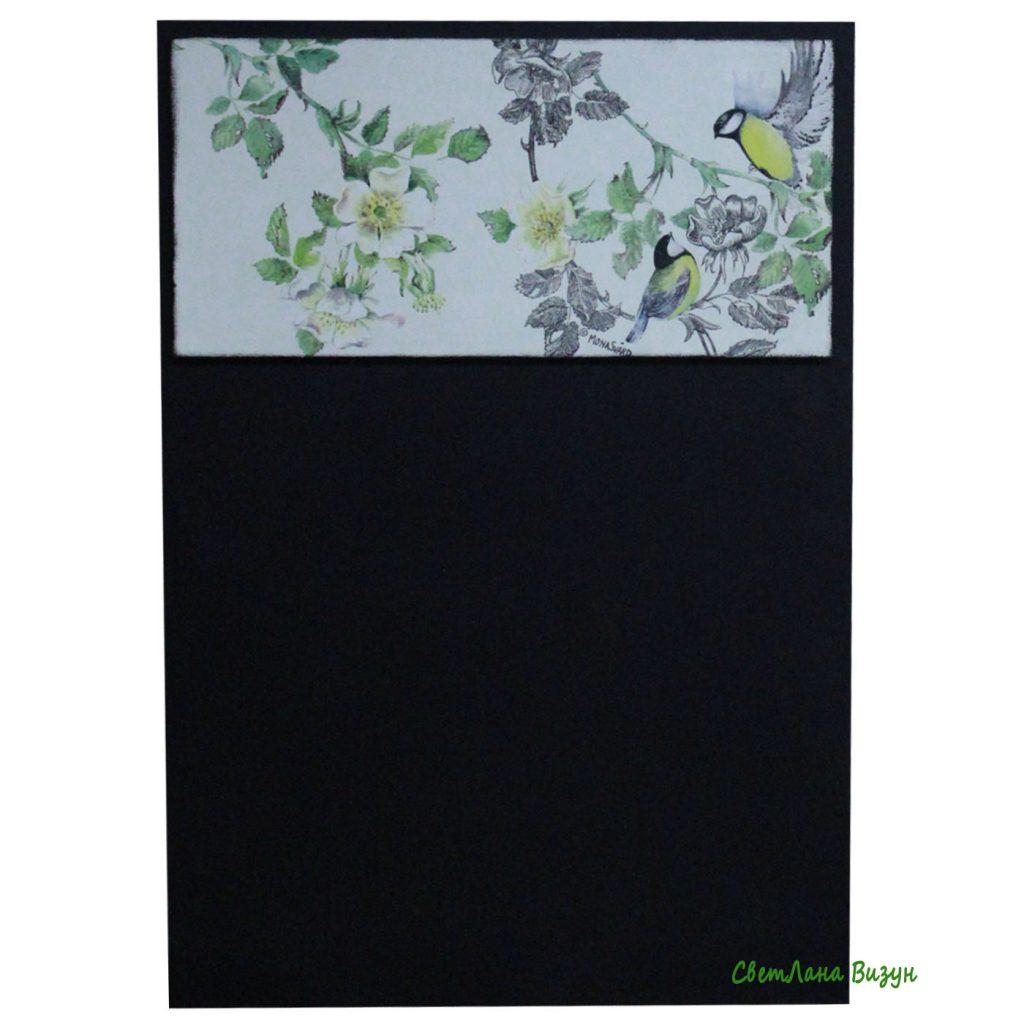 Красивая меловая доска на кухню с цветущей яблоней и птичками