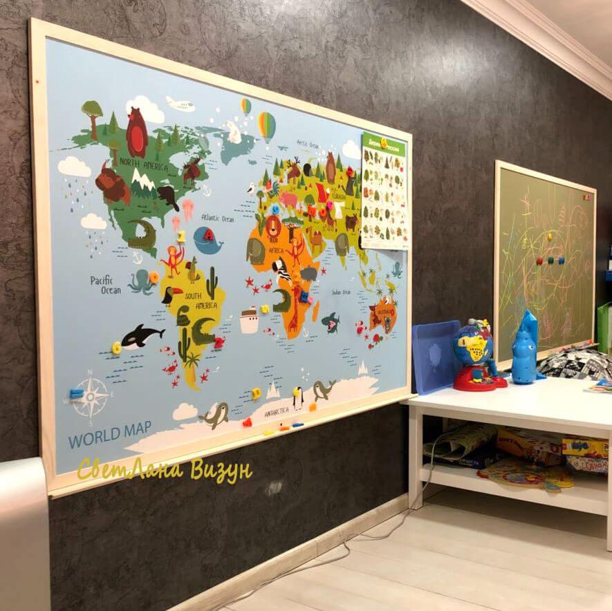Магнитная доска с картой животных в детскую