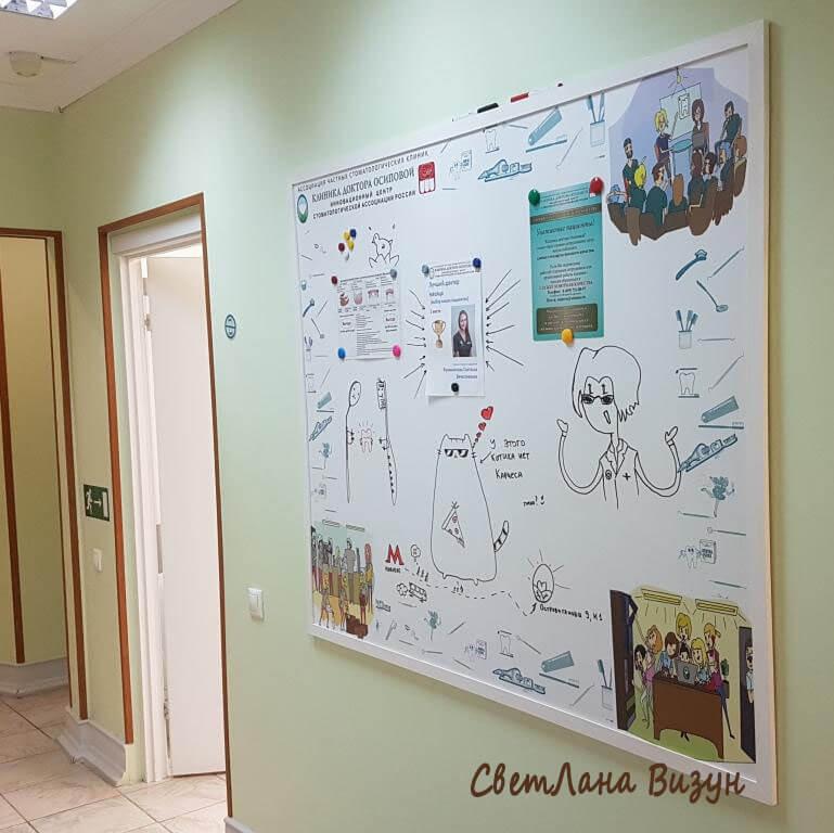 Магнитно-маркерная доска объявлений в клинику