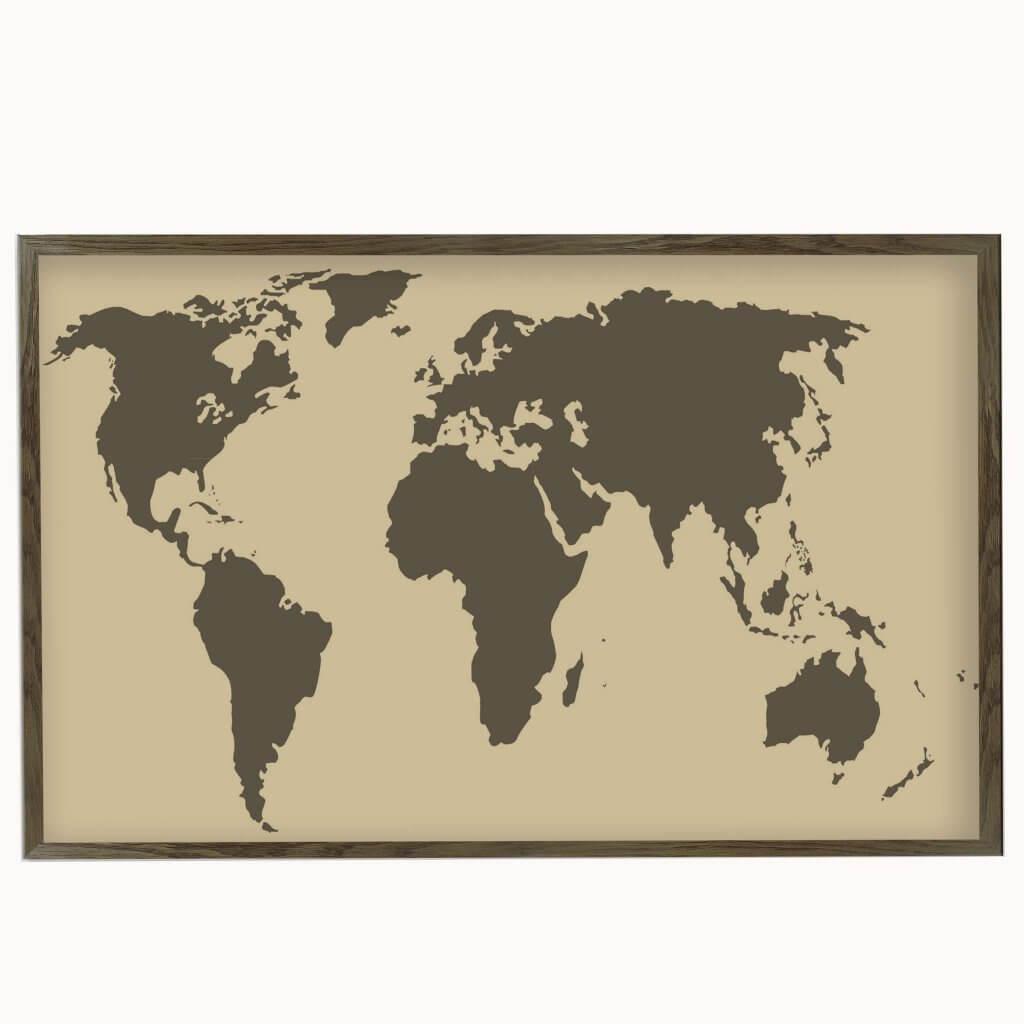 интерьерная карта коричневая магнитная доска