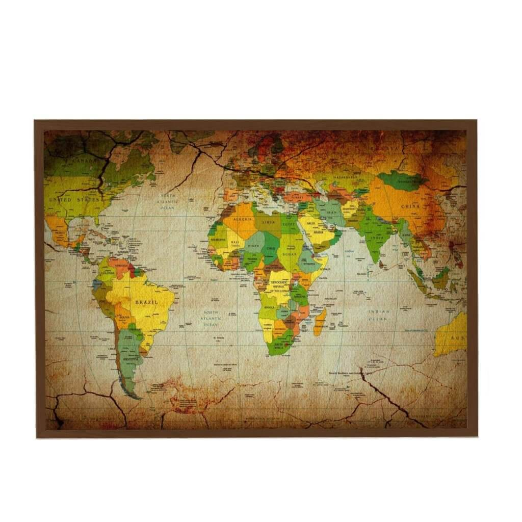 интерьерная карта коричневая старинная магнитная, 55х75см, 2800р