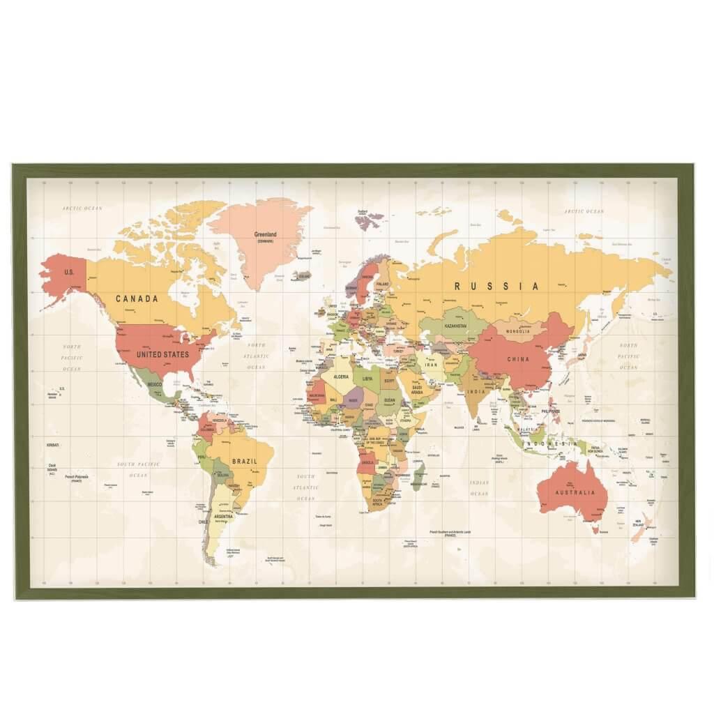 интерьерная карта цветная с городами магнитная доска, 65х95см, 3600р