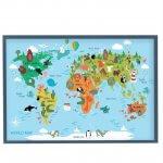 магнитная доска детская карта мира с животными бирюзовая, 85х125см, 6200р