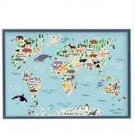 магнитная доска детская карта мира с животными бирюзовая 2, 65х95см, 3600р