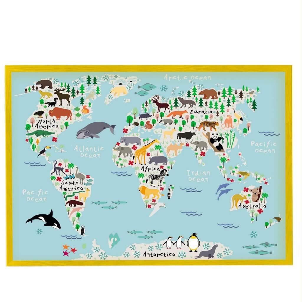 магнитная доска детская карта мира с животными бирюзовая в желтой раме, 65х95см, 3600р