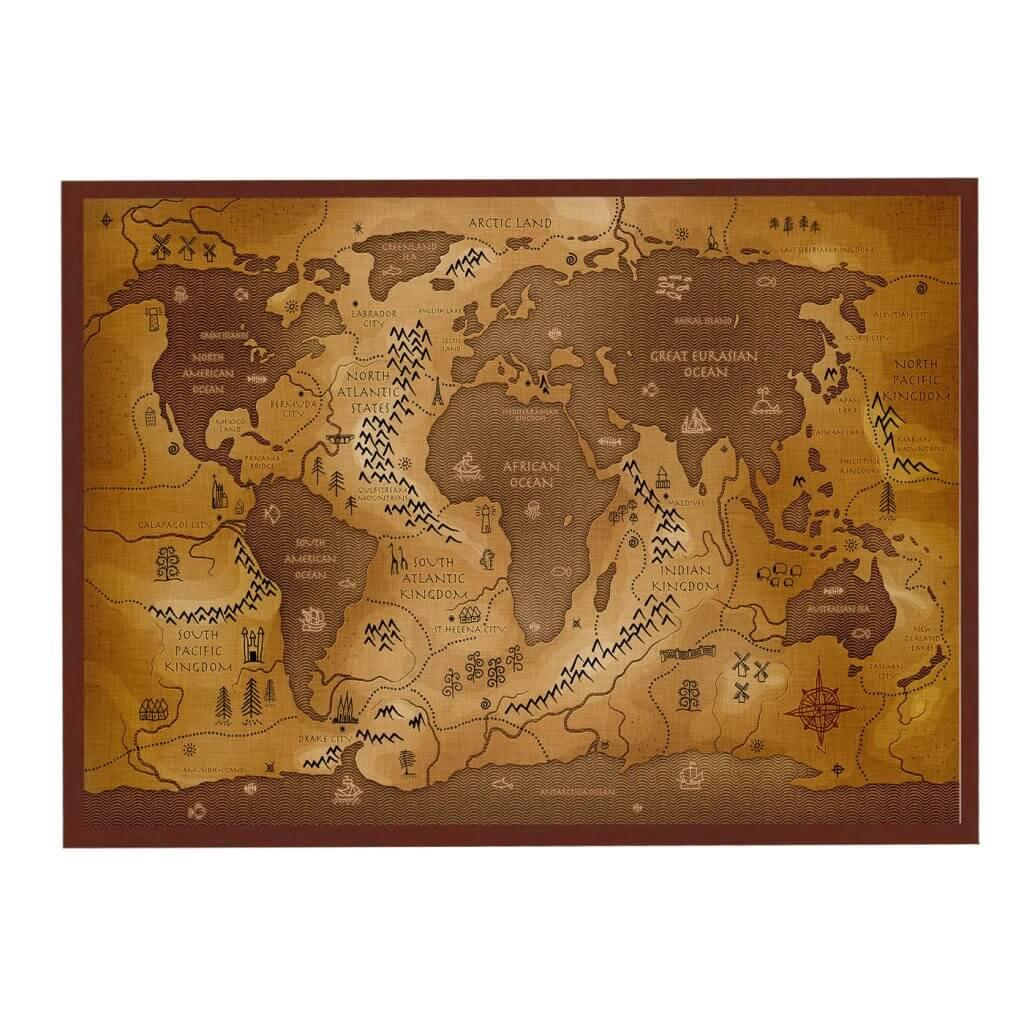 Магнитная доска интерьерная карта коричневая 55х75 см