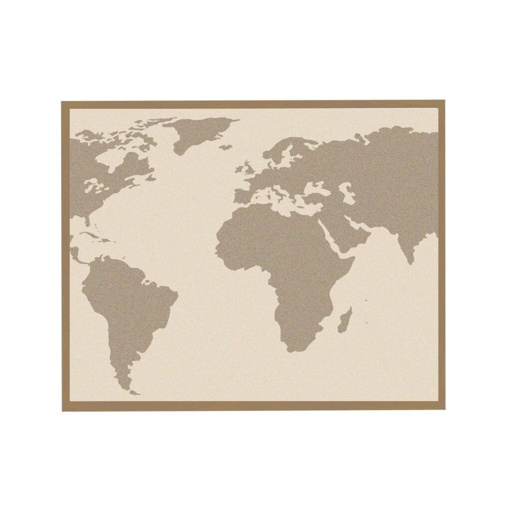 Магнитная доска карта мира интерьерная бежевая 45х65 см, цвет рамы на выбор, 2300р
