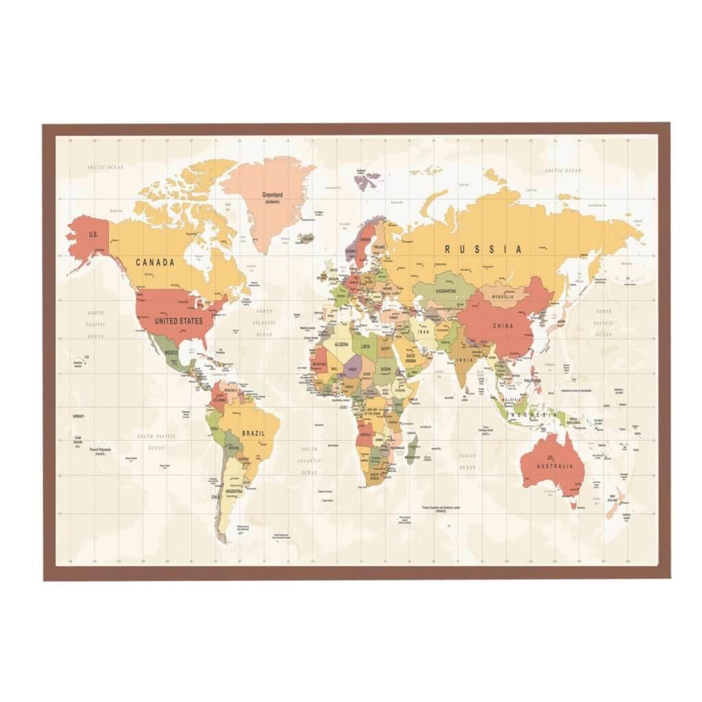 Магнитная доска карта мира цветная 68х125 см, цвет рамы на выбор, 5800р