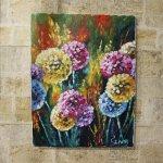 картина маслом яркие цветы большие, 35х45см, 3900р