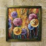 картина маслом яркие цветы в раме, 33х33см, 2900р