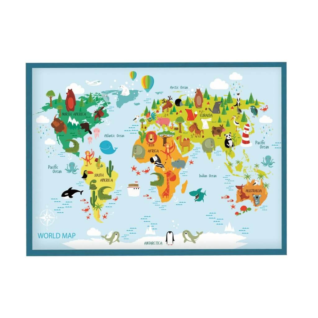 магнитная доска карта мира с животными для детей 85х125 см, цвет рамы на выбор, 6200р