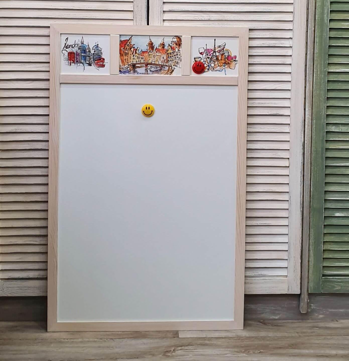Магнитная белая доска для магнитиков с картинами городов Лондон, Париж, Амстердам, 65х95см, 5900р.