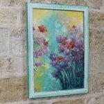 Картина маслом сиреневые цветы и маки в рамке, 23х33см, 2700р