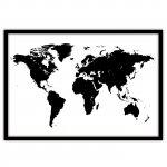 Магнитная доска Черно-белая карта мира, 65х90см, 3800р, рама любого цвета