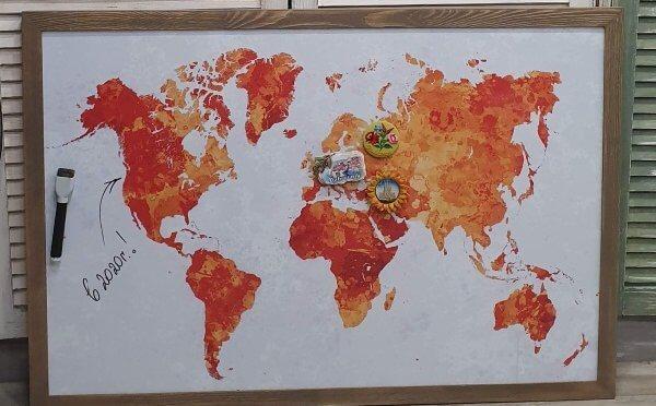 Купить магнитную доску с изображением карты мира